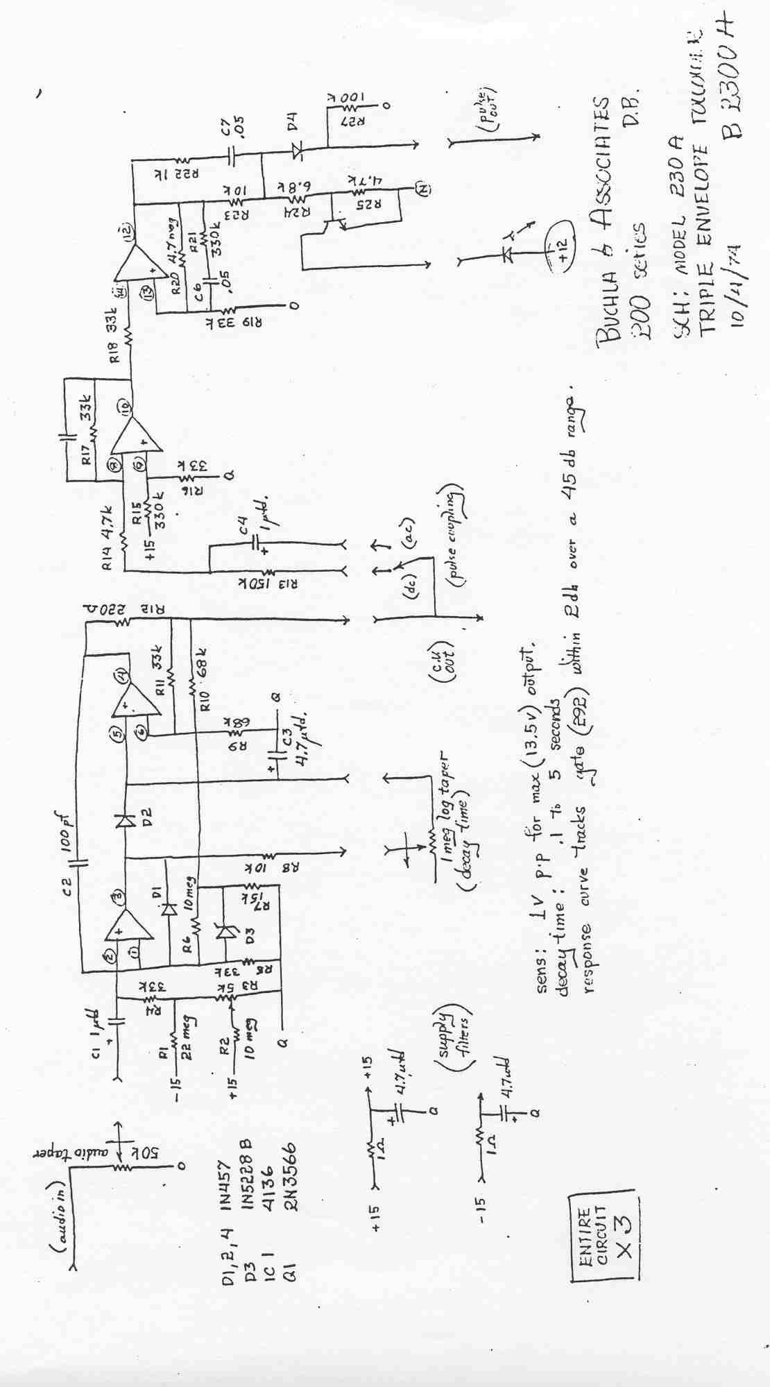 Audio Electronic Circuit Schematics Page 7 Noiseguide Envelope Schematic Buchla 230 Module